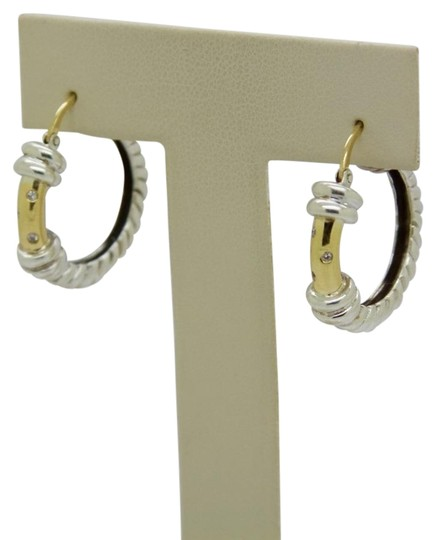 Preload https://img-static.tradesy.com/item/24490818/yellow-gold-and-sterling-silver-18k-with-diamond-hoop-earrings-0-2-540-540.jpg