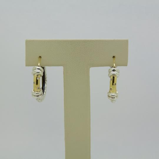 ALS Italy ALS ITALY Sterling Silver & 18k Yellow Gold with Diamond Hoop Earrings Image 1