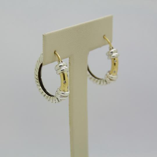 ALS Italy ALS ITALY Sterling Silver & 18k Yellow Gold with Diamond Hoop Earrings Image 2
