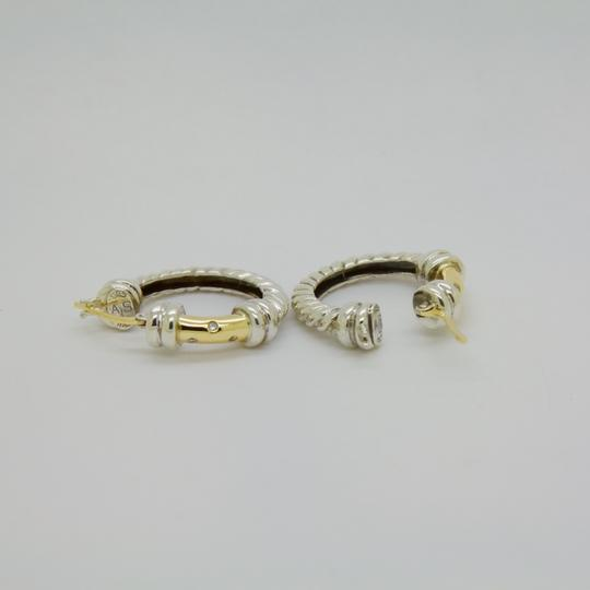 ALS Italy ALS ITALY Sterling Silver & 18k Yellow Gold with Diamond Hoop Earrings Image 4