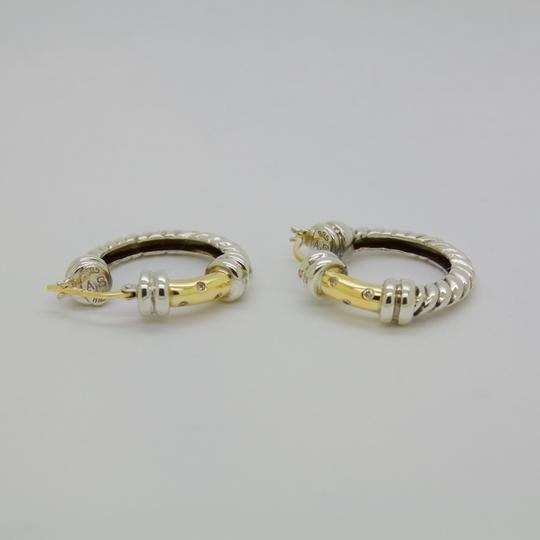 ALS Italy ALS ITALY Sterling Silver & 18k Yellow Gold with Diamond Hoop Earrings Image 5