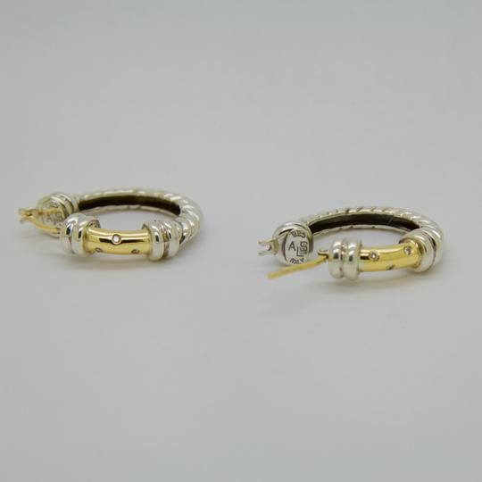 ALS Italy ALS ITALY Sterling Silver & 18k Yellow Gold with Diamond Hoop Earrings Image 6