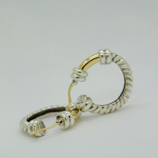 ALS Italy ALS ITALY Sterling Silver & 18k Yellow Gold with Diamond Hoop Earrings Image 7