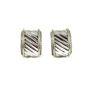 David Yurman David Yurman Sterling Silver 14K 1.00tcw Diamond Cigar Earrings