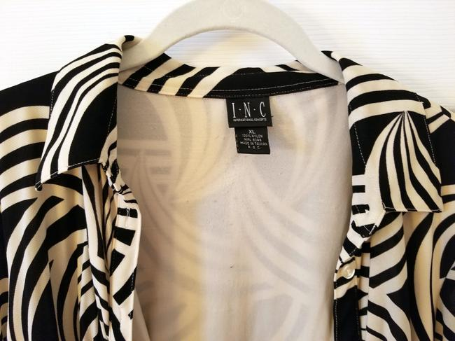 INC International Concepts Button Down Shirt cream black Image 3