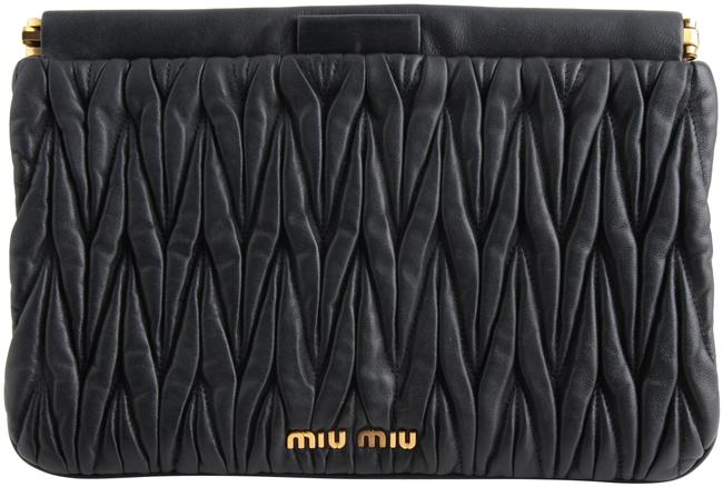 Item - Matelassé Black Lambskin Leather Clutch