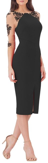 Item - Black Crepe Midi with Tattoo Embroidery Mid-length Cocktail Dress Size 4 (S)