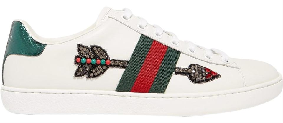 e138a2039a54 Gucci Ace Watersnake-trimmed Crystal-embellished Leather Sneakers ...