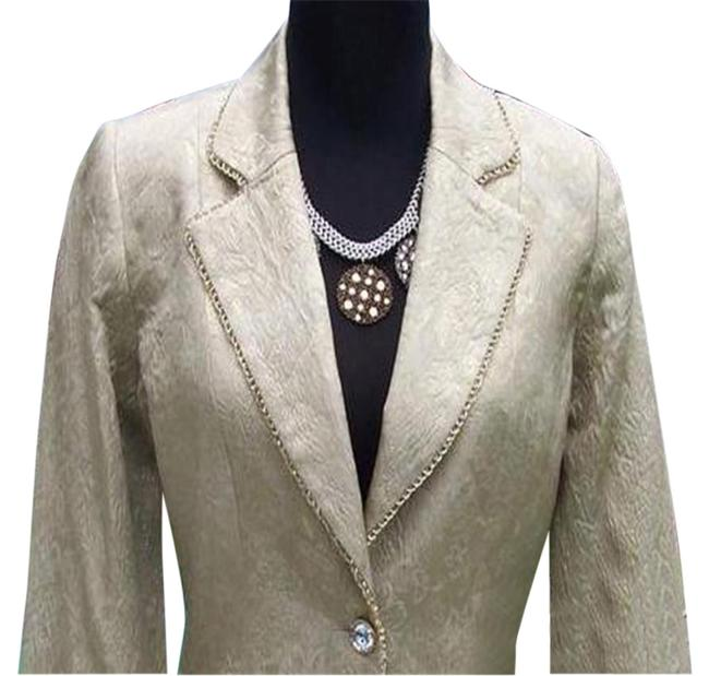 Item - Gold L Elaborate Brocade Top Jacket Silver Bead Trim Blazer Size 12 (L)