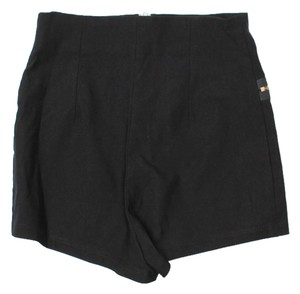 Lovely Day High Waist Golden Zippers Mini/Short Shorts Black