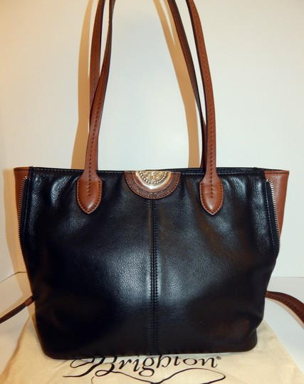 Brighton Zip Leather Expandible Tote in Black Image 6
