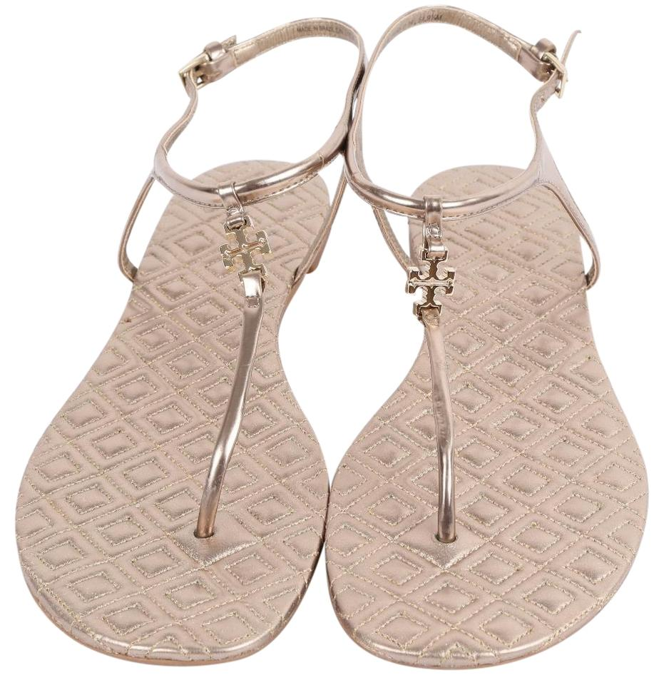 67bc98267 Tory Burch Pink Marion T Gold Leatrher Quilted T-strap Thongs Sandals. Size   US 9.5 Regular (M ...
