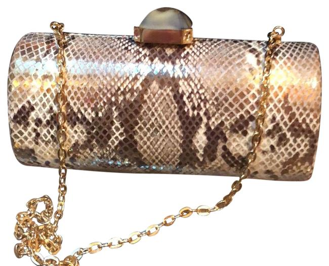 Item - Overture Gold/Pearl Python Skin Leather Clutch