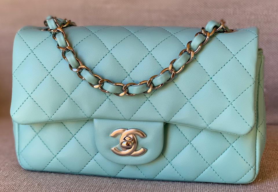 724ecbd8d48d Chanel Classic Lambskin Mini Flap with Shiny Silver Chain Light Blue ...