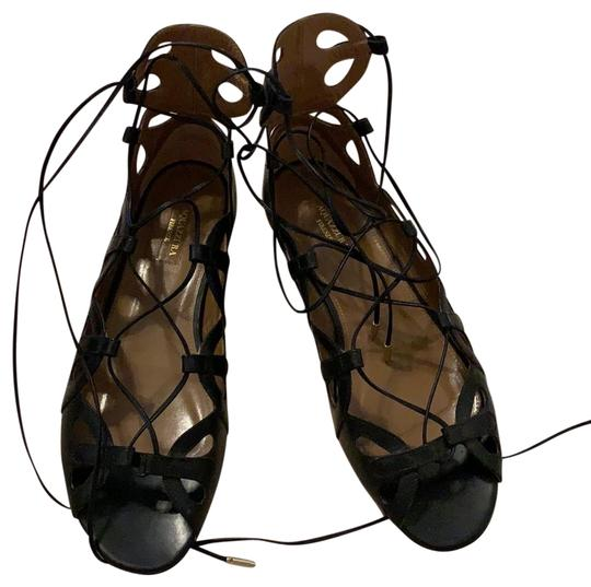 Preload https://img-static.tradesy.com/item/24491141/aquazzura-black-tie-up-perfect-with-jeans-or-a-spring-dress-vacay-ready-flats-size-eu-405-approx-us-0-3-540-540.jpg