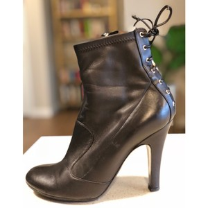 Laurence Dacade Heels Leather Lace Up Black Silver Boots