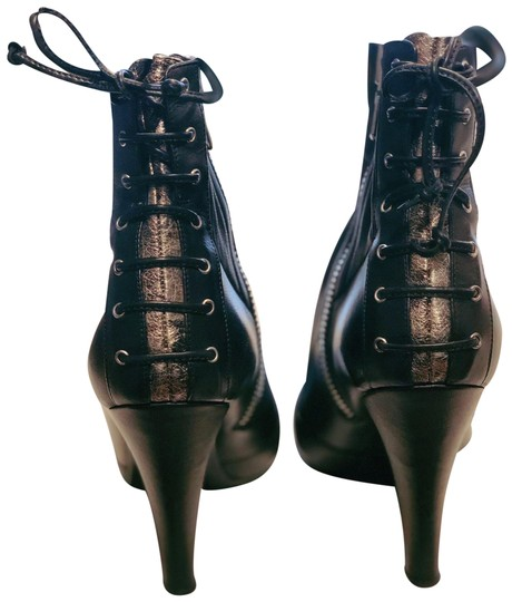 Laurence Dacade Heels Leather Lace Up Black Silver Boots Image 1