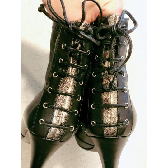 Laurence Dacade Heels Leather Lace Up Black Silver Boots Image 3