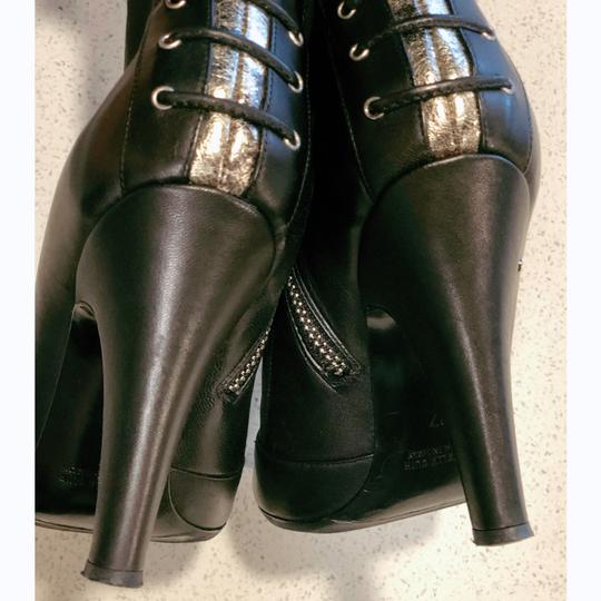 Laurence Dacade Heels Leather Lace Up Black Silver Boots Image 4
