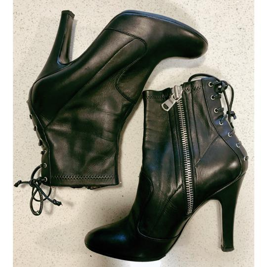 Laurence Dacade Heels Leather Lace Up Black Silver Boots Image 5