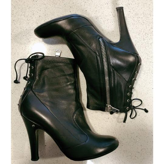 Laurence Dacade Heels Leather Lace Up Black Silver Boots Image 6
