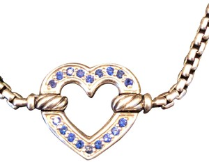 David Yurman Cable Collectibles heart station bracelet blue sapphire