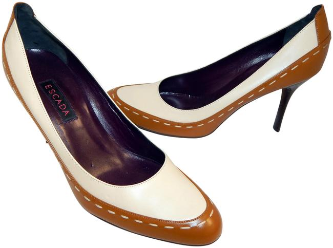 Escada Brown Ivory Two Tone Leather Pumps Size EU 39.5 (Approx. US 9.5) Regular (M, B) Escada Brown Ivory Two Tone Leather Pumps Size EU 39.5 (Approx. US 9.5) Regular (M, B) Image 1