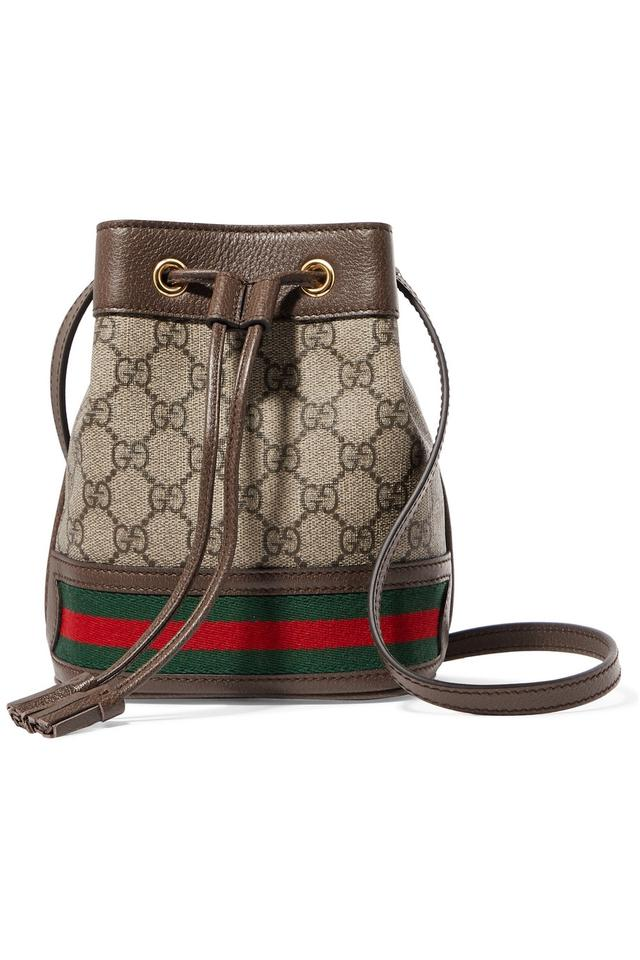 05e4f95723ab Gucci Bucket Ophidia Mini Textured Leather-trimmed Printed Coated ...