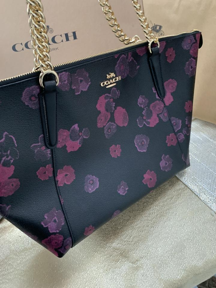 85a44463ee82 Coach Ava Nwot Chain with Halftone Floral Print Black Canvas Tote - Tradesy