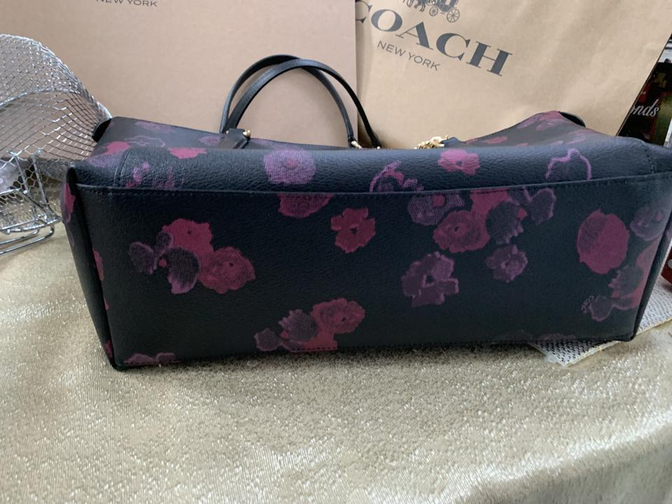 f687e5ff7b90 Coach Ava Nwot Chain with Halftone Floral Print Black Canvas Tote ...