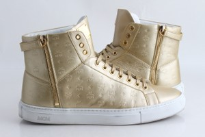 MCM Gold Embossed Metallic High Top Trainers Shoes