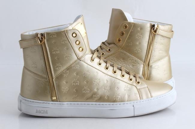 MCM Gold Embossed Metallic High Top Trainers Shoes MCM Gold Embossed Metallic High Top Trainers Shoes Image 1