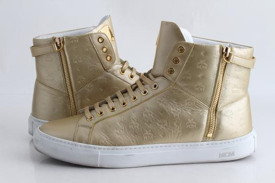 MCM Gold Embossed Metallic High Top Trainers Shoes Image 1