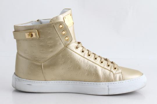 MCM Gold Embossed Metallic High Top Trainers Shoes Image 2