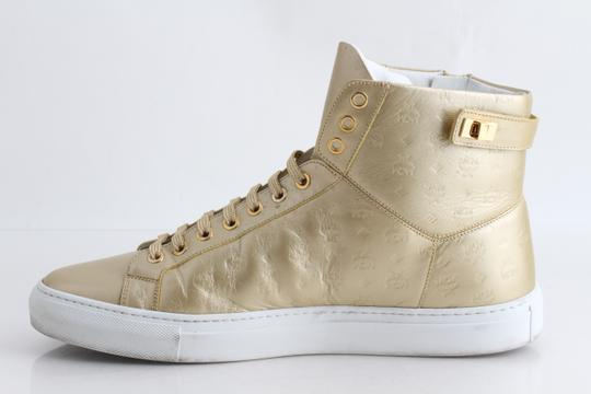 MCM Gold Embossed Metallic High Top Trainers Shoes Image 3