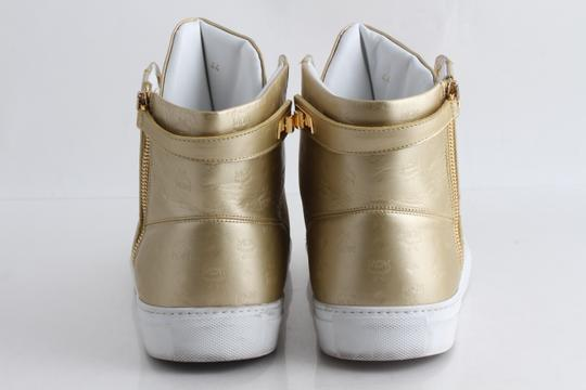 MCM Gold Embossed Metallic High Top Trainers Shoes Image 4