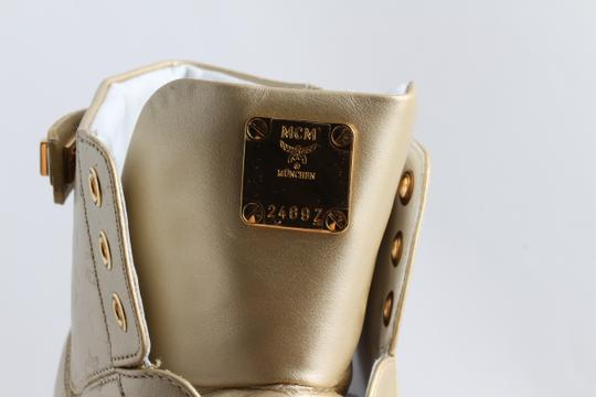 MCM Gold Embossed Metallic High Top Trainers Shoes Image 5