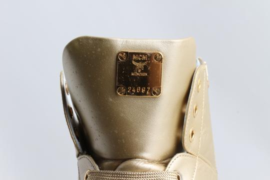 MCM Gold Embossed Metallic High Top Trainers Shoes Image 6