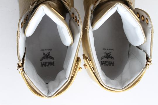 MCM Gold Embossed Metallic High Top Trainers Shoes Image 7