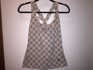 Burberry Blue Label Plaid Logo Signature Cotton Nova Check Halter Top