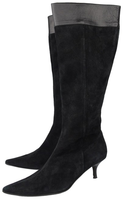 Item - Black Women's Suede Leather Heeled Boots/Booties Size US 8.5 Regular (M, B)