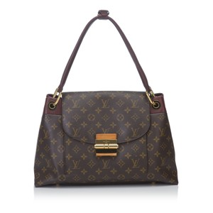 Louis Vuitton Leather Monogram Canvas Tote in Brown