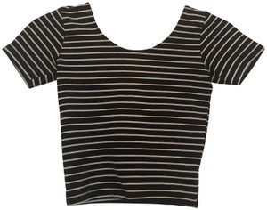 American Apparel Striped Scoop Crop T Shirt Black/White