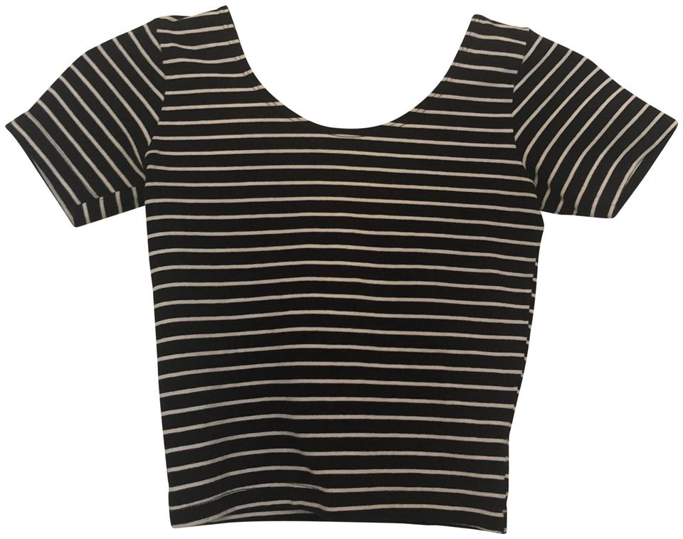 7be5852bca9 American Apparel Black/White Striped Scoop Neck Crop Tee Shirt Size ...