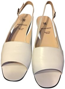 Bruno Magli Leather Dustbag/Box Slingback Made In Italy White Sandals