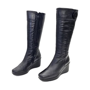 La Canadienne Leather Zip Up Wedge Button Black Boots