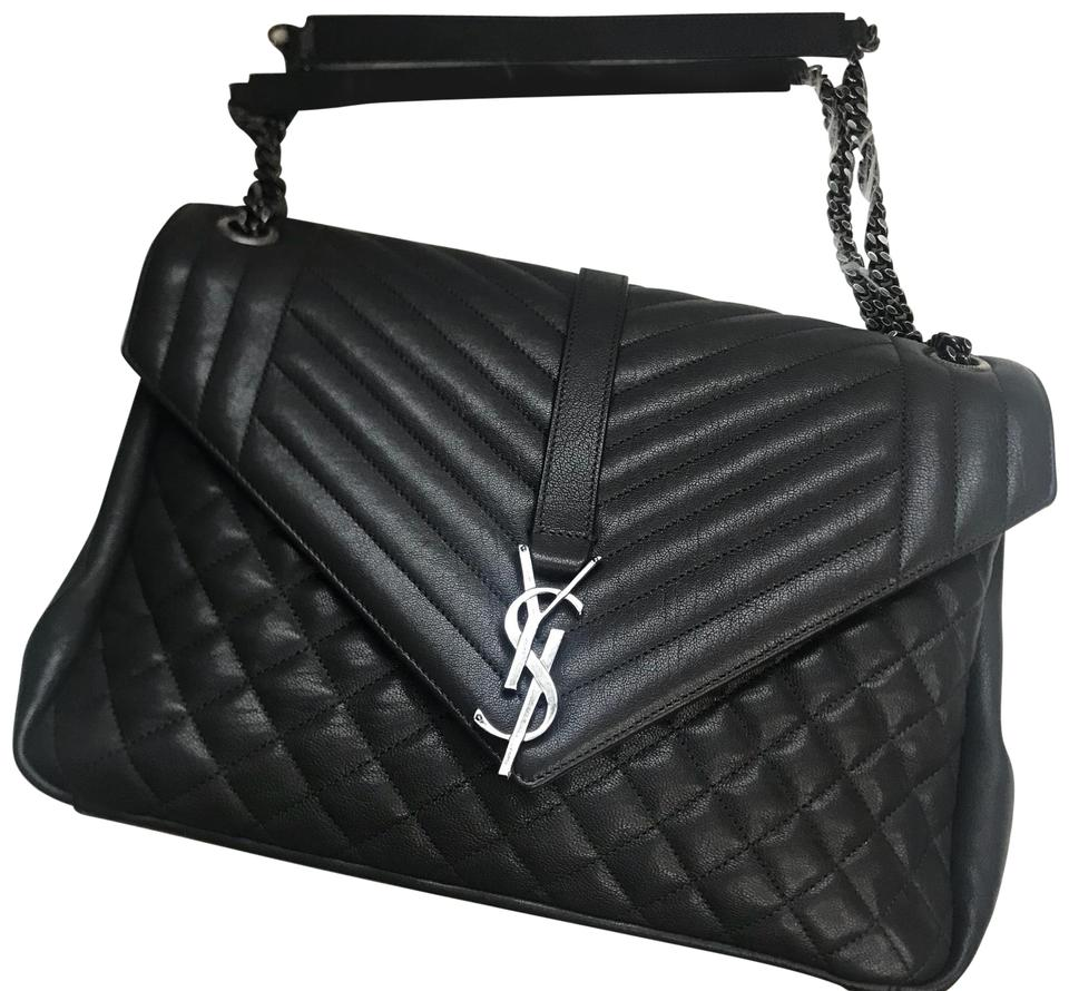 e6a12cf8fa32 Saint Laurent Monogram Kate College Large Tri Quilt Dark Gray Calfskin Leather  Shoulder Bag