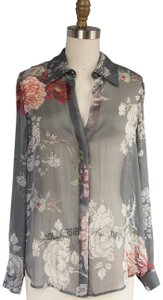 L'AGENCE Long Sleeve Button Up Oversized Sheer Top Grey floral