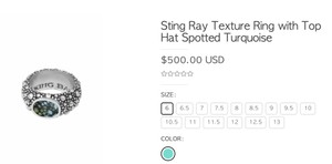 King Baby Sting Ray Texture Ring with Top Hat Spotted Turquoise