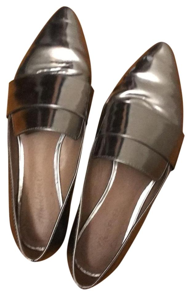 85e97ce89 Madewell Silver Metallic Leandra Loafer Flats Size US 6.5 Regular (M ...